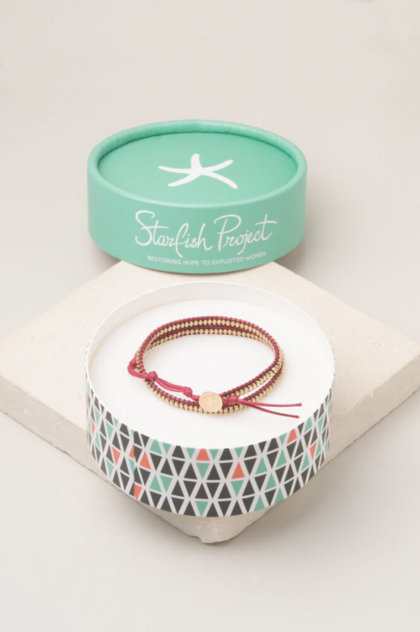 Starfish Project - Sue Red; Starfish Pendant Wrap Bracelet-Bracelet-Aware... the social design project