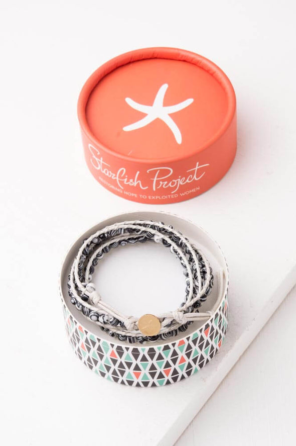Starfish Project - Joy Zebra; Starfish Pendant Wrap Bracelet-Bracelet-Aware... the social design project