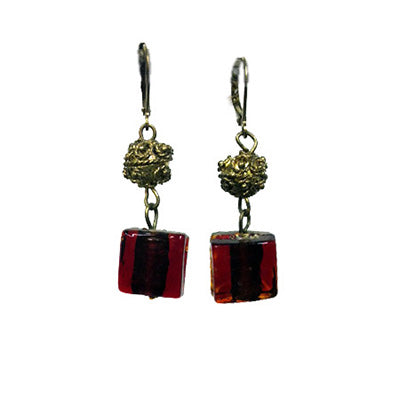 Square Glass Earrings Burgandy