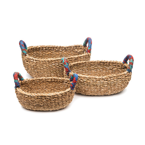 Chindi Sari Handle Hogla Table Baskets-Gift-Aware... the social design project