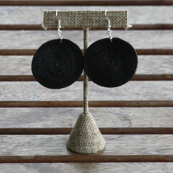 Tintsaba - Large Woven Disc earring - Black-Earrings-Aware... the social design project