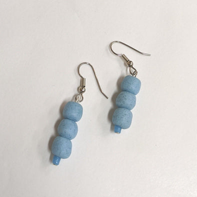 Glass Pearls Earrings - Light Blue-Earrings-Aware... the social design project