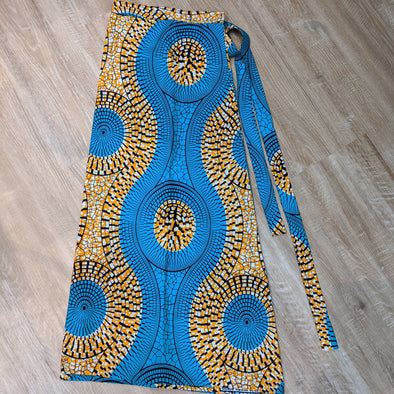 African Kitenge Fabric Wrap Skirt - Teal and Tangerine - Medium fits size 8 - 12-Aware... the social design project