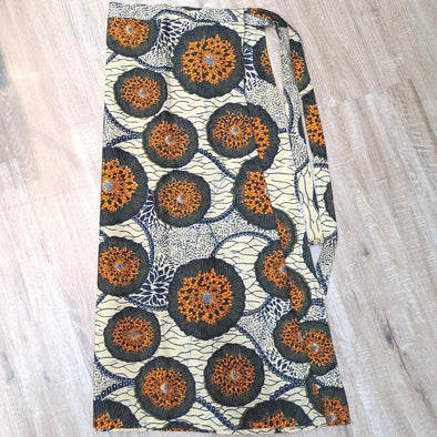 African Kitenge Fabric Wrap Skirt - Orange and Earthy Tones - Large size 12-16-Skirt-Aware... the social design project