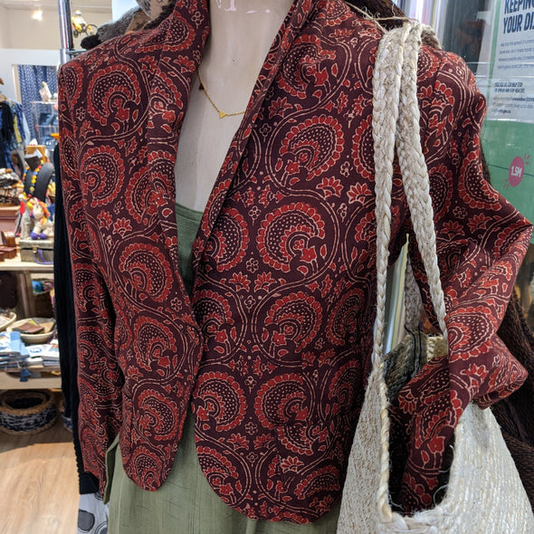 Hand Block Printed Jacket - Red - Only Size 8 Left-Jacket-Aware... the social design project