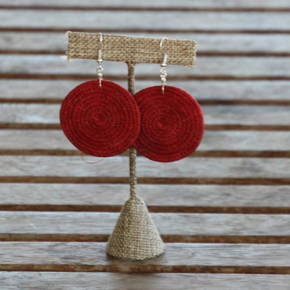 Tintsaba - Large Woven Disc earring - Red-Earrings-Aware... the social design project