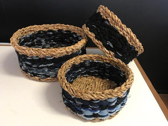 Sea Grass and Recycled Denim Basket-Basket-Aware... the social design project