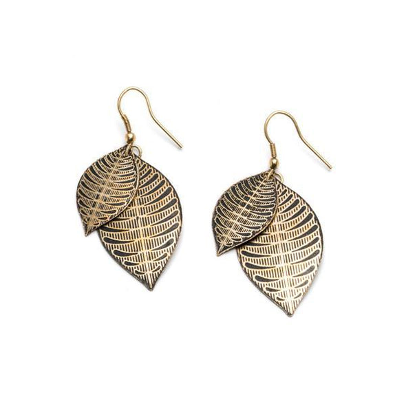 Leaf Earring in Gold or Silver-Earrings-Aware... the social design project