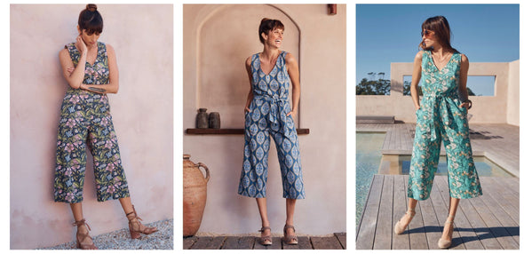 """THE"" jumpsuit  - available in hibiscus, Lilly or Lapis print"