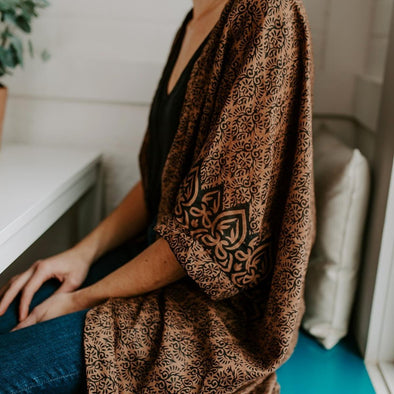 Natural Dye Sari Cloth Caftan