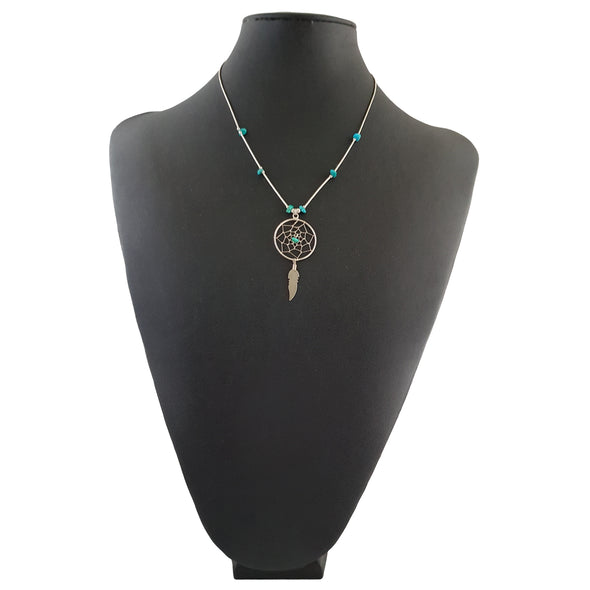Sterling silver and turquoise dreamcatcher necklace.