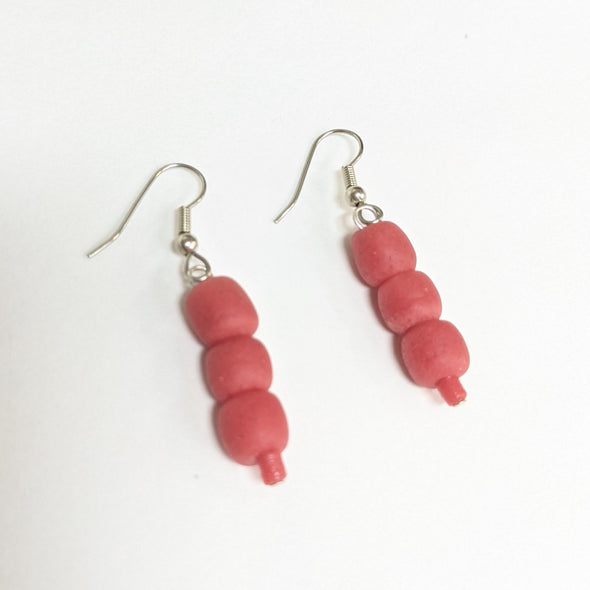 Glass Pearl Earrings - Red Poppy
