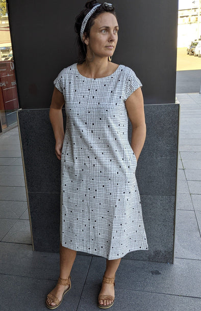 Cap Sleeve Mod Dress - Undyed Khadi with Checker Block Print