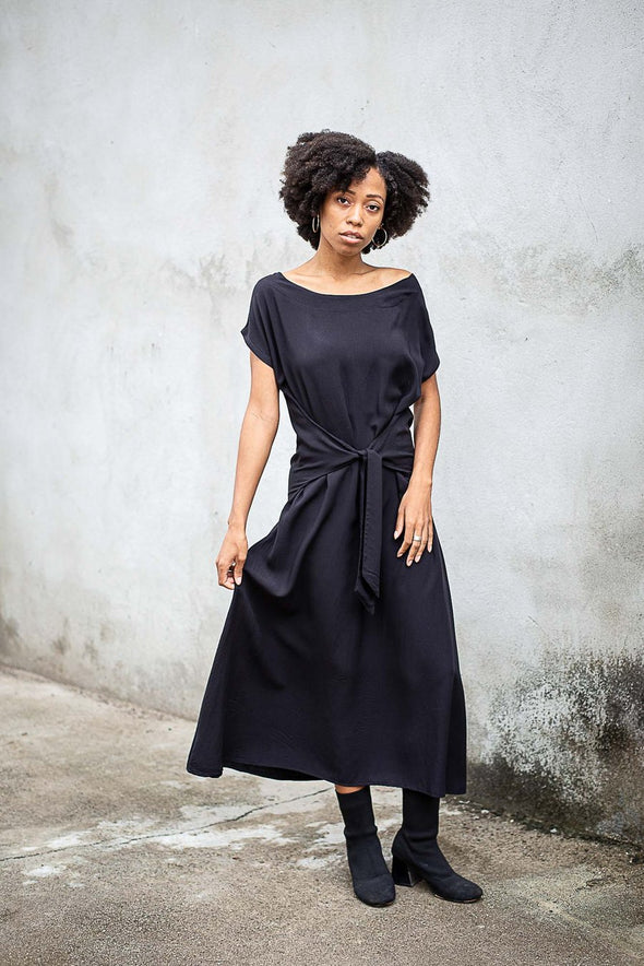 Sofia Dress in Navy - Zero Waste Fashion-Dress-Aware... the social design project