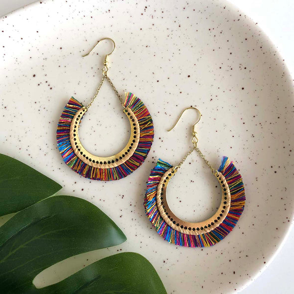 Contoured Fringe Earrings - Multi