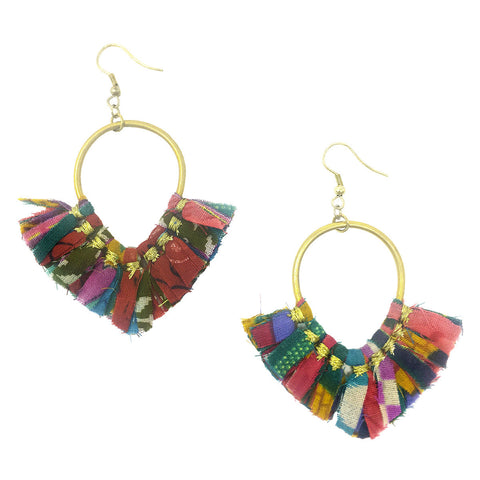 Kantha Arrowhead Earrings