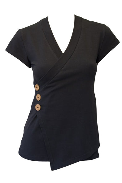 Crossover Cap Sleeve - Black. A BEST SELLER! One left- Size 12-Top-Aware... the social design project
