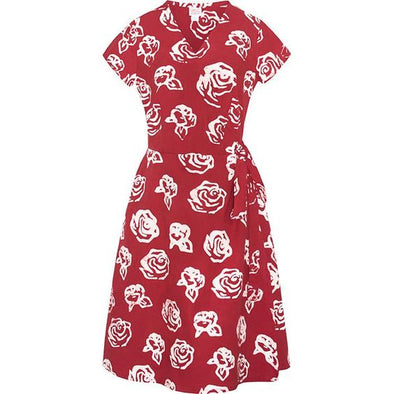 Red Roses Wrap Dress-Dress-Aware... the social design project
