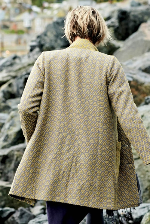 Handloomed Winter Coat - Mustard