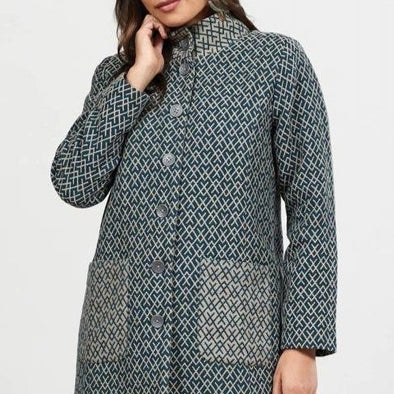 Handloomed Winter Coat -  Green