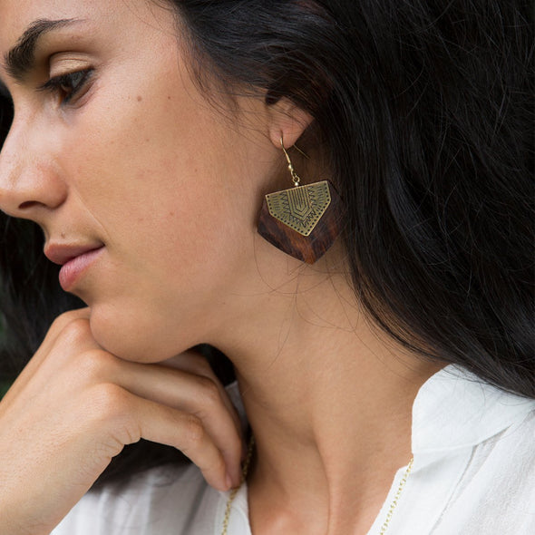 Durga Timber Sheild-Earrings-Aware... the social design project