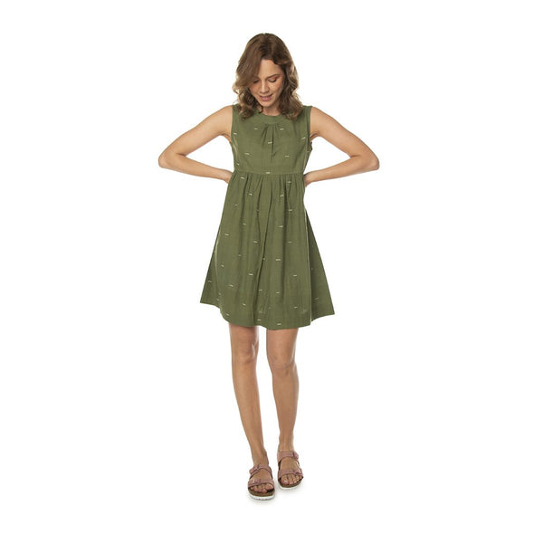 Handwoven Baby Doll Dress in Green or Rust