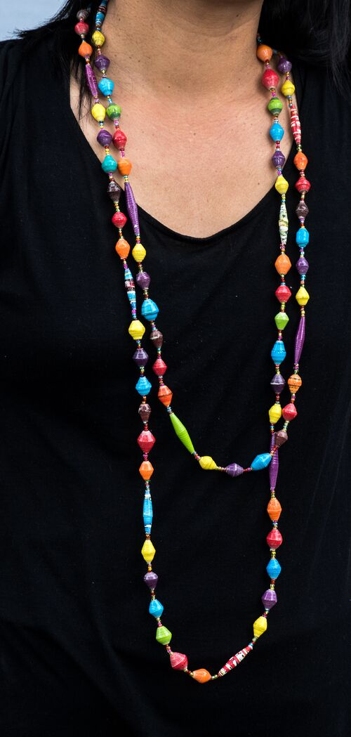 Multi-coloured long necklace-Necklace-Aware... the social design project