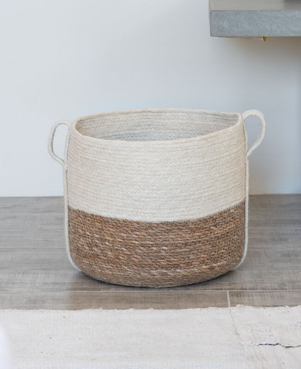 White Jute Sea Grass Basket-Basket-Aware... the social design project