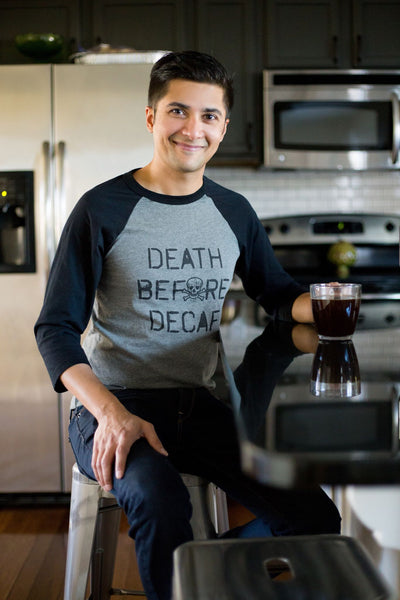 Death Before Decaf • Adult Raglan, Tees - Wicked Good Vibes