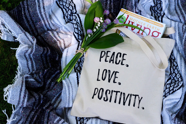 Peace Love Positivity Tote, Tote Bag - Wicked Good Vibes