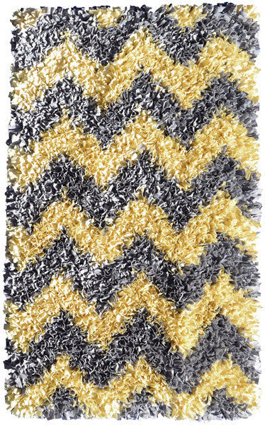 The Rug Market Shaggy Raggy Yllw/Gry Chevy 2289 Area Rug