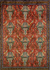 Vintage Persian Rug, Red Afshar Pure Wool Tribal 3 x 5 Rug, Red and Turquoise Rug