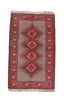 "Vintage Persian Rug, Tribal Pink and Red Diamond Medallion, 4' 5"" X 6' 8"" Handmade Rug"