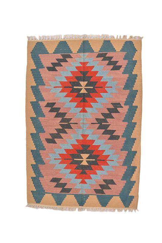 "Oriental Turkish Kilim Turkish 5' 6"" X 3' 9"" Handmade Rug"