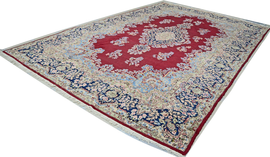 Vintage Persian Kerman Rug, Red Deep Blue Rug, 10' x 15'