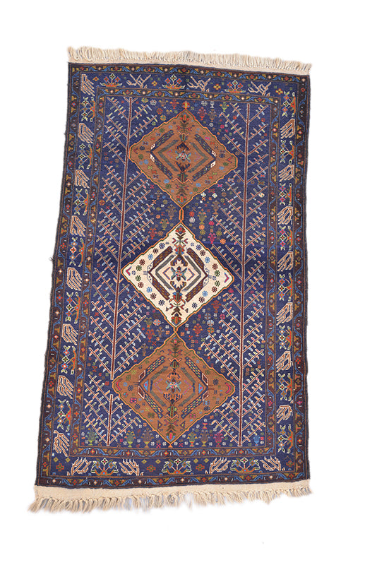 "Tribal Vintage Persian Hand Knotted Rug 3' 7"" X 6' 2"""