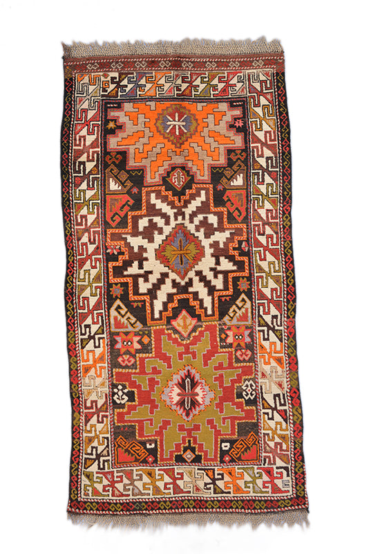 "Vintage Tribal Turkish Kazak Rug 3' 6"" X 6' 11"" Handmade Rug"