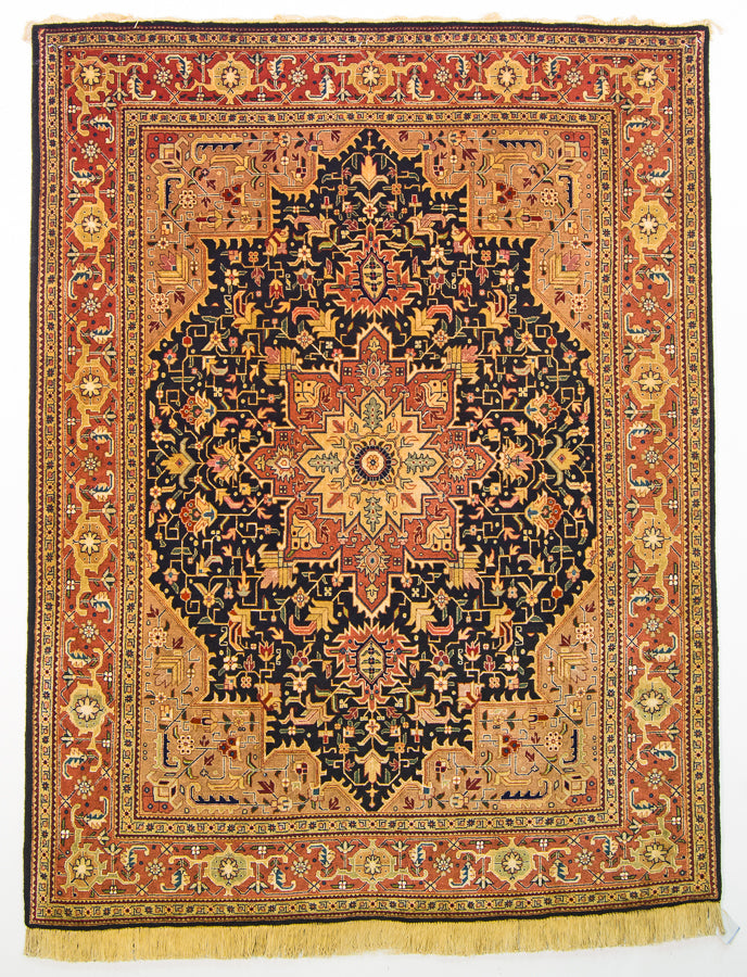 "Persian Vintage Tabriz Oriental Silk and Wool Rug, Black and Gold Rug, 5' x 6'5"" Rug"