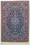 Vintage Persian Isfahan Area Rug Fine Wool and Silk Rug, Blue Red, 3' x 5'