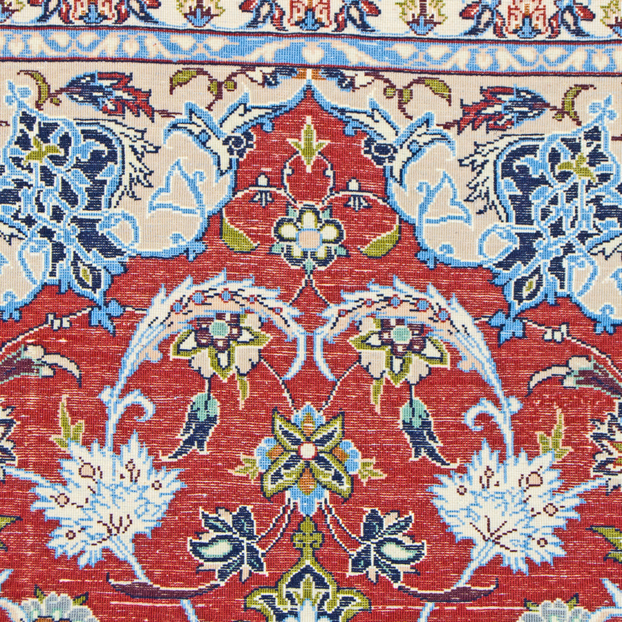 Vintage Persian Isfahan Area Rug Super Fine Wool and Silk Rug, True Blue Red, 3' x 5'