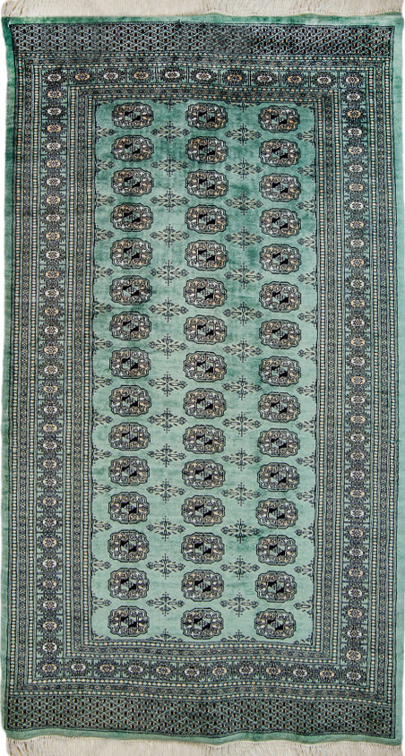 "Vintage Pakistan Area Rug,  Kashmir Oriental Rug Wool Rug, Green and Black Rug, 4' x 6'5"" Rug"