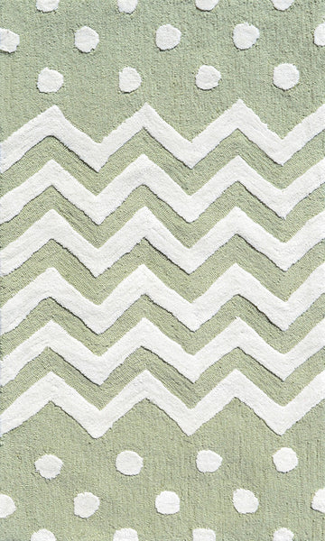 The Rug Market Zigzag/Dot Green 74076 Area Rug