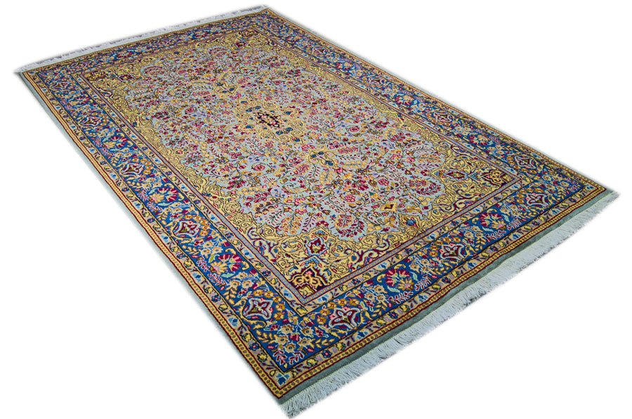 Vintage Persian Kerman Rug, Yellow Blue, 5' x 8'