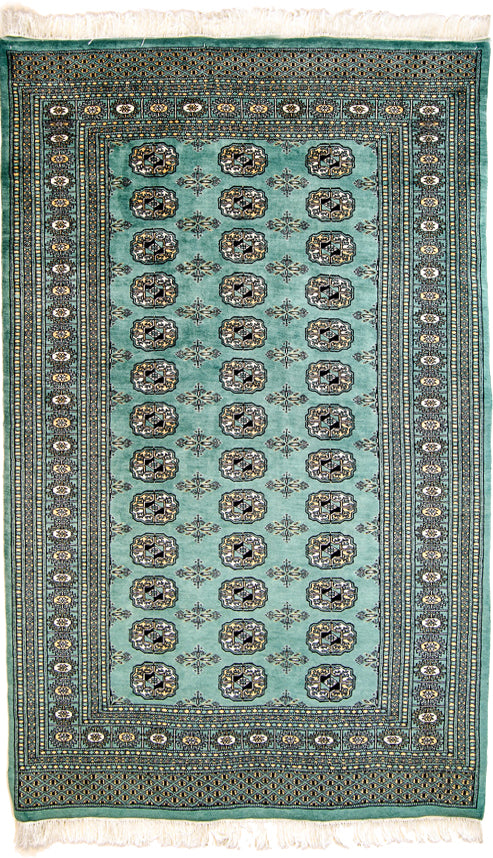 Vintage Pakistan Area Rug,  Kashmir Oriental Rug, Light Green Black, 4' x 6'