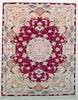 "Oriental Persian Tabriz Natural Wool and Silk Rug, Red and Beige Rug, 5' x 6'5"" Rug"