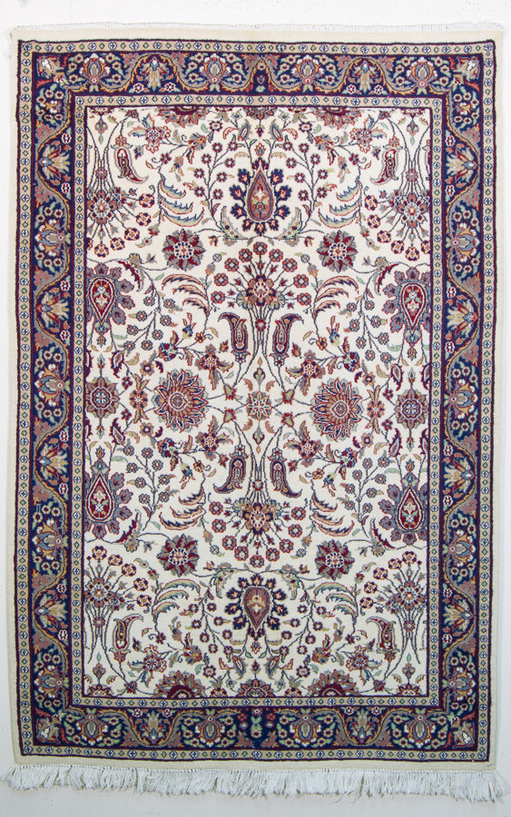 Vintage Kashmir Rug, Oriental Design, Oriental Silk Indian Rug, Cream White, 4' x 6'