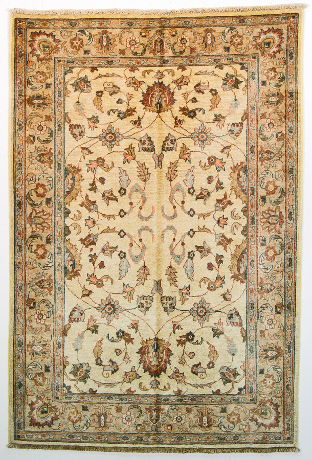 Vintage Persian Rug Chubi Ziegler Natural Wool Tribal Rug, Cream Brown, 4' x 6' Area Rug