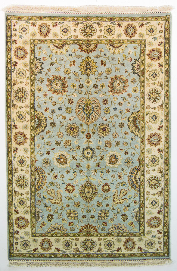 Oriental Sultanabad Wool And Cotton Oriental Rug Light Blue And