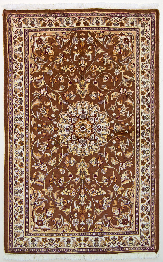 Vintage Oriental Rug Pakistan Wool and Silk Oriental Rug, Brown Beige, 3' x 5'