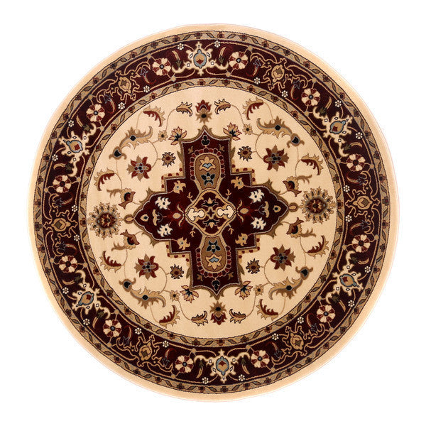 "Liberty Oriental Rugs Brillante Machine Made Cream Round Rug (5'7"" x 5'7"")"